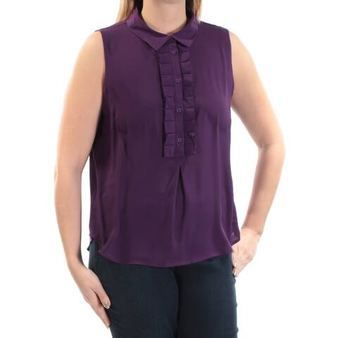 TOMMY HILFIGER Womens Purple Sleeveless Collared Top Size: L