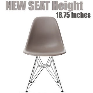 2xhome Grey - Eames Style Molded Bedroom & Dining Room Side Ray Chair with Eiffel Metal Leg Base