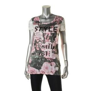 Guess Womens Modal Floral Print T-Shirt