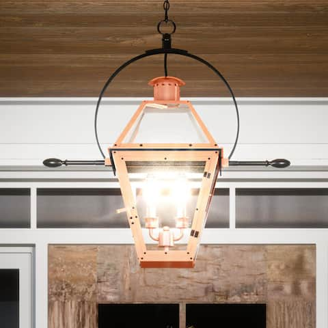 """Luxury Historic Outdoor Pendant Light, 23.5""""H x 21.25""""W, with Tudor Style, Rustic Copper, UQL1383 by Urban Ambiance"""