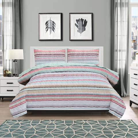 EnvioHome Cotton Blend 3 Piece Reversible Seersucker Striped Quilt Set