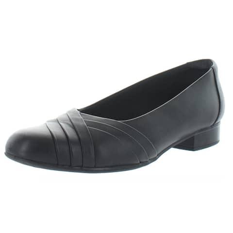 Clarks Womens Juliet Petra Block Heels Leather Slip On - Black Leather