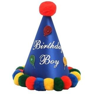 Boys Royal Blue Red Pompom Glitter Balloon Cone Birthday Party Hat