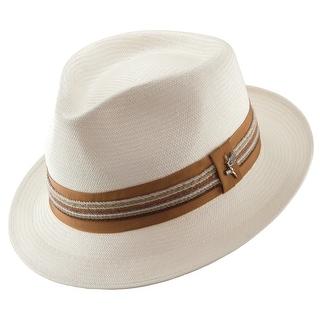 Santana Men's Shantung Salvador Pinch Front Fedora Hat - White