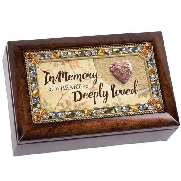 """6"""" Amber and Brown Traditional Bereavement Music Box with Locket - N/A"""