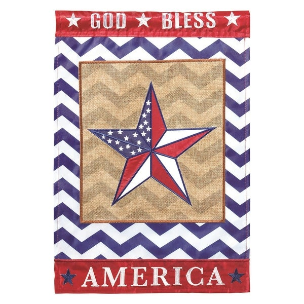 """Red, White and Blue God Bless America Star Garden Flag 29"""" x 42"""" - N/A"""