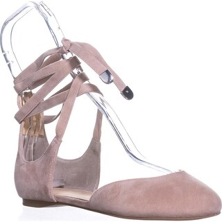 Ivanka Trump Elise Lace Up Ballet Flats, Light Natural