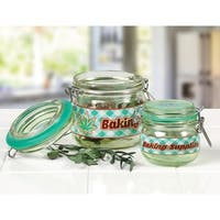 Fantasy Gifts Baking Supplies Herb Stash Jars - Hermetic Seal Hinged Glass Containers
