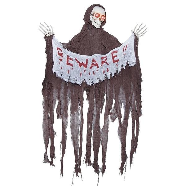 "Animated Reaper w/ ""Beware"" Banner Halloween Décor"