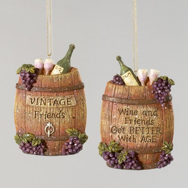 "Set of 2 Tuscan Winery Barrel with Verse and Grapes Christmas Ornaments 5"" - brown"