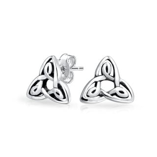 Tiny Irish Triquetra Celtic Trinity Knot Tiny Stud Earrings For Women For Men Oxidized 925 Sterling Silver