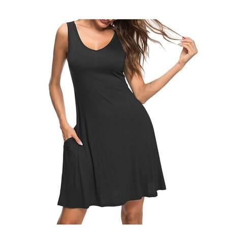 Haute Edition Women's Summer Sleeveless Tank Dress with Pockets