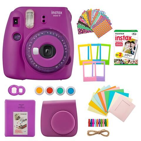 Fujifilm Mini 9 Instant Camera (Purple) with Film Gift Bundle