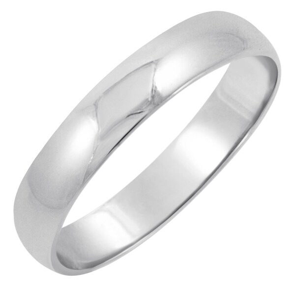 Men's 10K White Gold 4mm Traditional Plain Wedding Band (Available Ring Sizes 8-12 1/2)