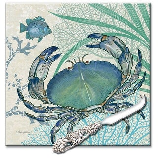 Oceana Blue Crab Swimming in Coral Glass Cheese Board and Spreader 8 Inches