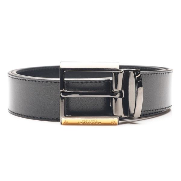Versace Collection Men's Adjustable Stainless Steel Buckle Black Leather Belt