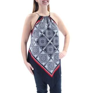 Womens Navy Sleeveless Halter Casual Handkerchief Top Size L