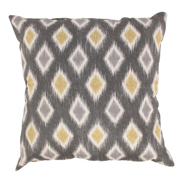 "Eco-Friendly Graphite & Chartreuse Diamond Square Throw Pillow 16.5"" x 16.5"""