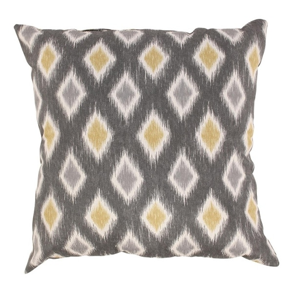 "Eco-Friendly Graphite and Chartreuse Diamond Design Throw Pillow 18"" x 18"""