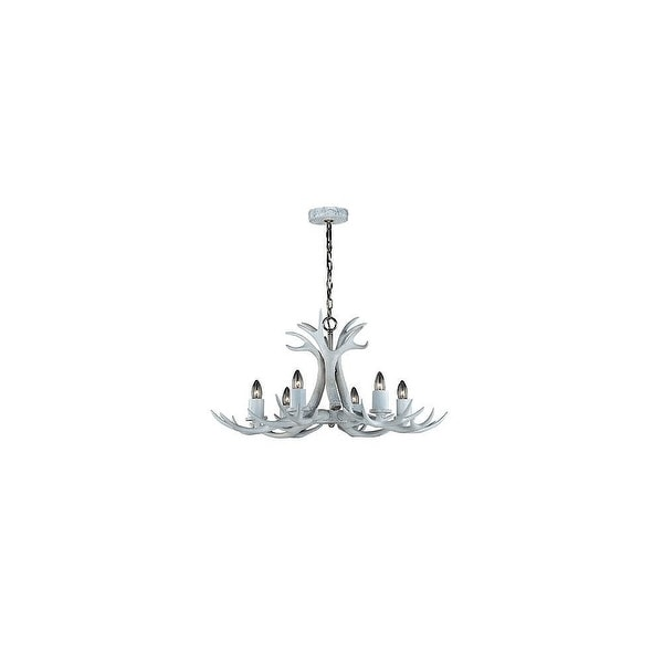 Vaxcel Lighting H0159 Vail 6-Light Single Tier Chandelier with Antlers - white with polished nickel
