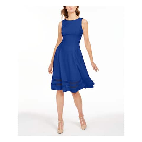 CALVIN KLEIN Blue Sleeveless Below The Knee Dress 6