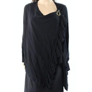 INC NEW Black Women's Size Medium M Ruffle Trim Buckle Wrap Sweater