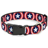 Buckle-Down Captain America Shield Navy Pet Collar - Small