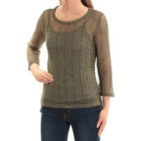 INC Womens Green Sequined Long Sleeve Scoop Neck Top  Size: XS