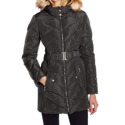 Jessica Simpson Womens Jacket Large Puffer Belted Hooded