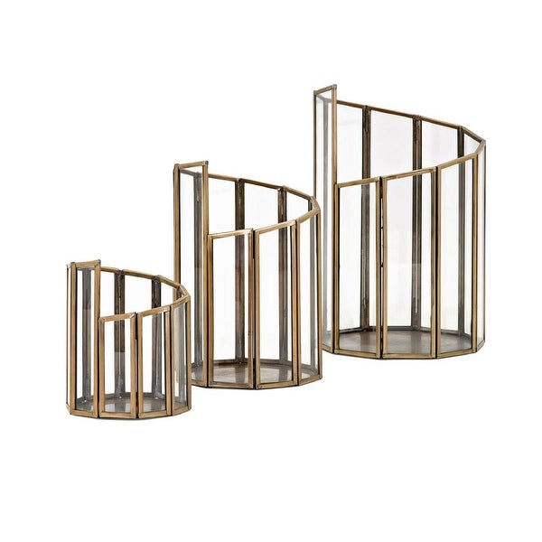 Set of 3 Gold Cylindrical Shaped Rosselli Glass Table Top Candle holders
