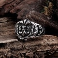 Vienna Jewelry English Shield Emblem Stainless Steel Ring - Thumbnail 0