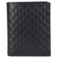 Gucci 292533 Men's Black Leather Micro GG Guccissima Verticle Bifold Wallet