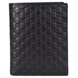 Gucci 292533 Men's Black Leather Micro GG Guccissima Verticle Bifold Wallet