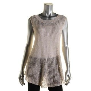 Eileen Fisher Womens Linen Blend Open Stitch Pullover Top - S