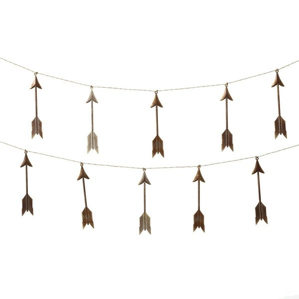 Set of 4 Brown and Gray Metal Decorative Arrow Garland 72""