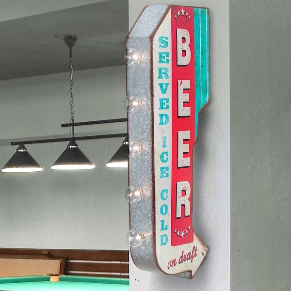Beer On Draft Double Sided Led Marquee Arrow Sign On Sale Overstock 28369331
