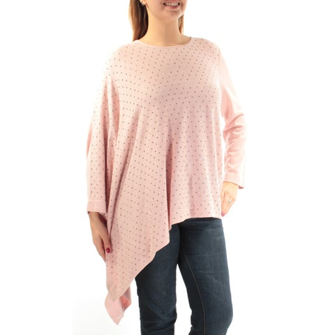 Womens Pink Long Sleeve Jewel Neck Casual Sweater Size L