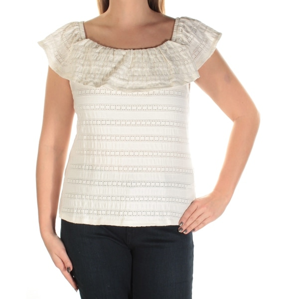 836b9e72b Shop MAISON JULES Womens Ivory Lace Short Sleeve Square Neck Peasant Top  Size: L - Free Shipping On Orders Over $45 - Overstock - 21511374