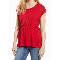 Bobeau Red Womens Size Small S Drawstring Scoop Neck Knit Top