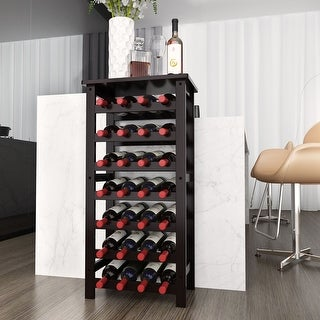 LANGRIA 28-Bottle Wine Rack made of Natural Bamboo Wood