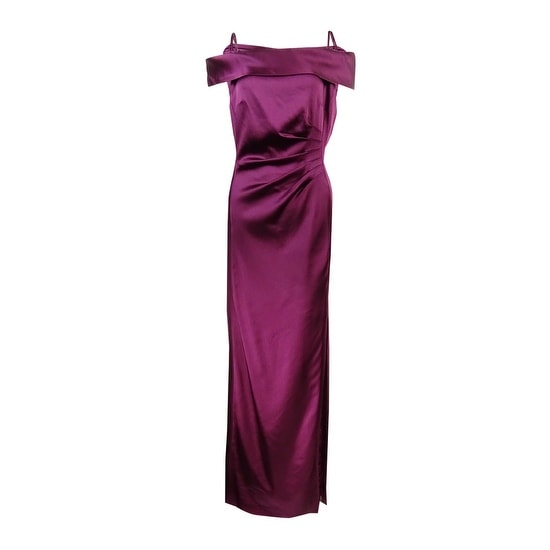 7c0f78c99070 Shop Tahari ASL Women s Off-The-Shoulder Satin Slit Gown - Wine - Free  Shipping Today - Overstock - 17572916