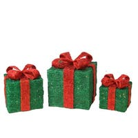 Set of 3 Lighted Sparkling Green Sisal Gift Boxes Christmas Outdoor Decorations