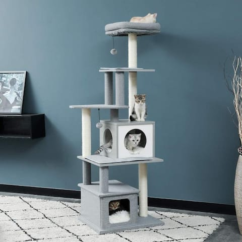 """63.7"""" Modern Cat Tree Tall Cat Tower with Scratching Posts, 2 Condos and Top Perch Grey"""