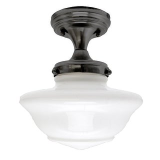 Design House 577502 Schoolhouse 1-Light Ceiling Fixture with Opal Glass Shade - Oil Rubbed Bronze - N/A