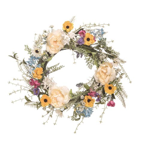 Enchanted Wildflower Spring Floral Wreath, White and Green 27-Inch