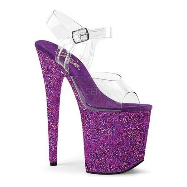 e849c326a700 Shop Pleaser Women's Flamingo-808LG Glitter Ankle Strap Sandal Clear PVC/Purple  Holo Glitter - Free Shipping Today - Overstock.com - 14554485