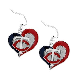 MLB Swirl Heart Team Dangle Earrings Minnesota Twins