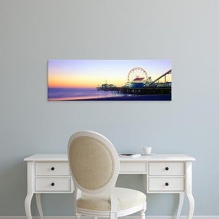 Easy Art Prints Panoramic Images's 'Santa Monica Pier at sunset, California' Premium Canvas Art