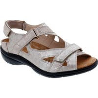 Drew Women's Lagoon Hook and Loop Sandal Champagne Dusty Leather