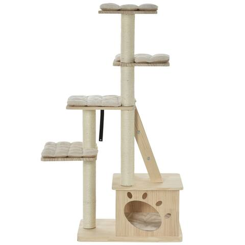 PawHut Multi-Level Cat Tree Condo Tower with Sisal-Covered Scratching Post, Activities for Kittens & Soft Cushion Luxury